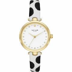 New Kate Spade NY KSW1449 Holland Black Dot White Leather band...