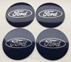56mm Blue Ford Wheel Centre Cap Badges Tin Emblems Stickers x4