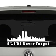 9-11-01 Never Forget Word trade Center Skyline Vinyl Decal Sti...