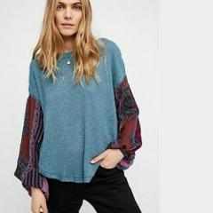NWT FREE PEOPLE Blossom Thermal Green Teal Combo Size Medium M...