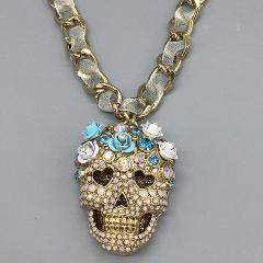 Betsey Johnson Sugar Skull Necklace Halloween Crystals Floral ...