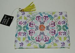Zippered Pouch Makeup Bag New Pansy Flowers Butterflies Yellow...