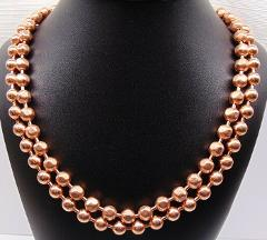 100% COPPER BALL CHAIN Necklaces 9.5mm Round + Faceted Bead ~ ...
