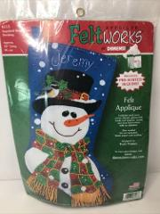 DIMENSIONS Snowman Christmas Stocking NEW Felt Works Sequined ...