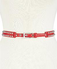 DKNY Womens Dome Studded Belt Red/Silver Size Medium $58 -NWT