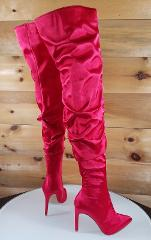 CR Red Satin Slouchy Shaft Pointy Toe OTK Thigh Boot High Heel...