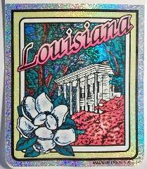 Louisiana State Vinyl Reflective Souvenir Decal with Glitter