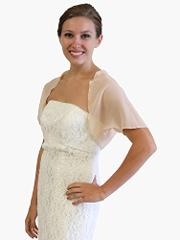 Chiffon Bolero Jacket With Short Sleeve 2XL-Champagne
