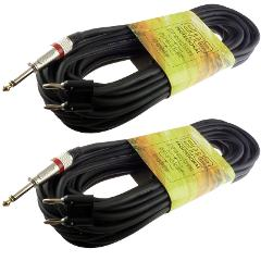2 PACK PRO AUDIO 1/4 TO DUAL banana 50 FT foot PA DJ SPEAKER C...