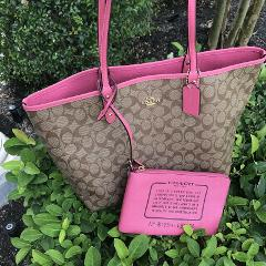 NWT Coach Signature Reversible City Zip Tote Bag Khaki Pink Ru...