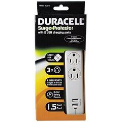 Duracell Surge Protector With 2 USB Charging Ports White