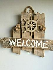 Nautical Welcome Wood Wall Plaque. Welcome your Guests in Tru...
