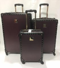 Vince Camuto 3 PC Hard Side Luggage Set Jania Fig With Gold Studs