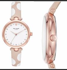 New Kate Spade NY KSW1450 Holland White Dot Beige Leather band...