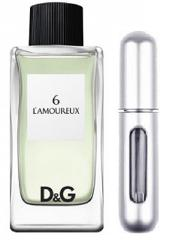 REFILLABLE PERFUME TRAVEL SPRAY WITH FREE 5ML D&G 6 L'AMOUREUX...