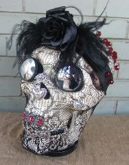 Jeweled Skull Day of the Dead The Widow OOAK Art Piece Pedesta...