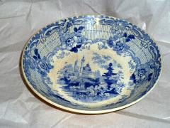 19th c. Blue and White Bowl w Fountain and Taj Mahal 5 7/8