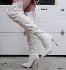 White Multi Glitter Courtly 3015 Thigh High Boots 5