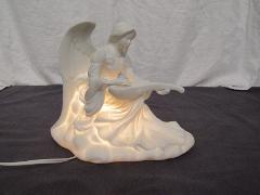 White Angel Figurine Mandolin Lute Lamp Night Light Ceramic St...