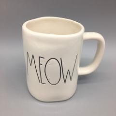 RAE DUNN Artisan Collection MEOW Coffee Mug Black Letters Cat ...