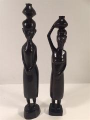 African Wooden Carved Figure Pair 12