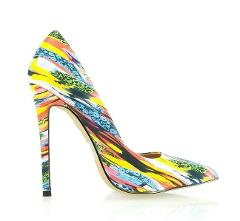 Alba Jamie Yellow Multi-colored Pointy Toe Pump Stiletto Heel ...