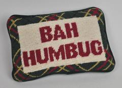 BAH HUMBUG Needlepoint WOOL Velvet THROW Pillow CHRISTMAS Holi...