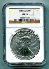 2020 AMERICAN SILVER EAGLE NGC MS70 CLASSIC BROWN LABEL AS SHO...