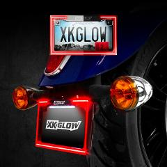 XKGLOW XK034018-BLACK Motorcycle LED Plate Frame w/Run/Turning...