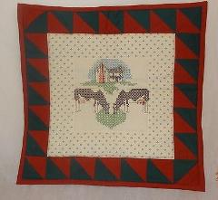 New Cows Farm Finished Cross Stitch Wall Hanging Heart Country...