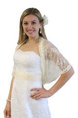 Lace Bridal Bolero Wedding Shawl Champagne Petite size