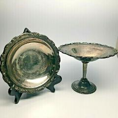 International Silver Company Silverplate 2 Matching Dishes w/R...