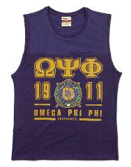 Omega Psi Phi Fraternity PURPLE SLEEVELESS MUSCLE SHIRT TOP T-...