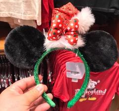 Disney Parks Christmas Santa Hat Minnie Mouse Headband Ears New