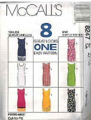 8247 McCalls SEWING Pattern Misses Slim Semi Fitted Dress 8 Lo...