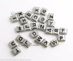 Black Letter Initials Alphabet Name ID 9mm Italian Charm Stain...