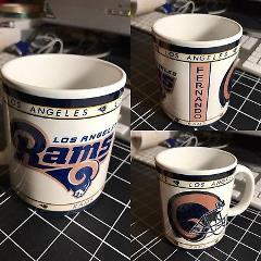 Custom Made Los Angeles Rams 11oz Coffee Cup with your name.