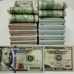 USA Prop Money Mixed 100 Pcs X 100 $+ 50 $ Assorted Double si...
