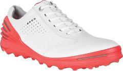 ECCO Cage Pro Golf Sneaker (Men's Shoes) - White / Scarlet Lea...