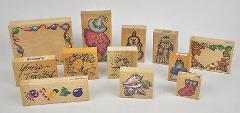 Lot of 12 Asst MOUNTED Rubber STAMPS Christmas HOLIDAY Snowman...