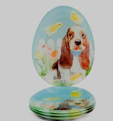 Easter Beagle Plates Set of 4 Appetizer or Dessert Spring Baby...