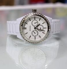 New FOSSIL BQ1194 Chronograph Glitz White Plastic Bracelet Wom...