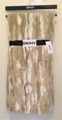 DKNY Blizzardy Mink Sculpted Faux Fur Tan Cream Soft Plush Thr...