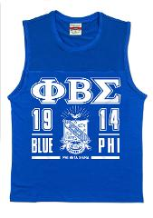 Phi Beta Sigma Fraternity T-shirt Blue Muscle shirt GOMAB 1914...