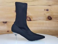 Mac J Black Stretch Pull On Ankle Sock Boot Clear Kitten Heel ...