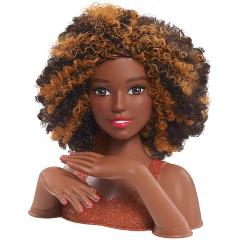 African American Curly Hair Styling Cut Color Curl Head and Ma...