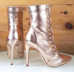 CR Rose Gold Pointy Toe Ankle Boot Full Side Zipper 4