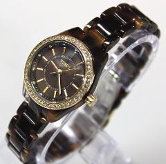 New FOSSIL BQ1196 Glitz Brown Resin Bracelet Women Watch