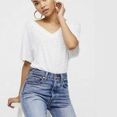 NWT FREE PEOPLE Take Me Tee Top Medium M White Color New FP Re...