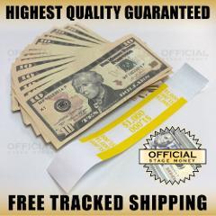 100x $10 Bills Stage Prop Fake Money Stack For Film, Movies, T...